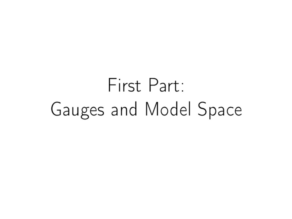 First Part: Gauges and Model Space