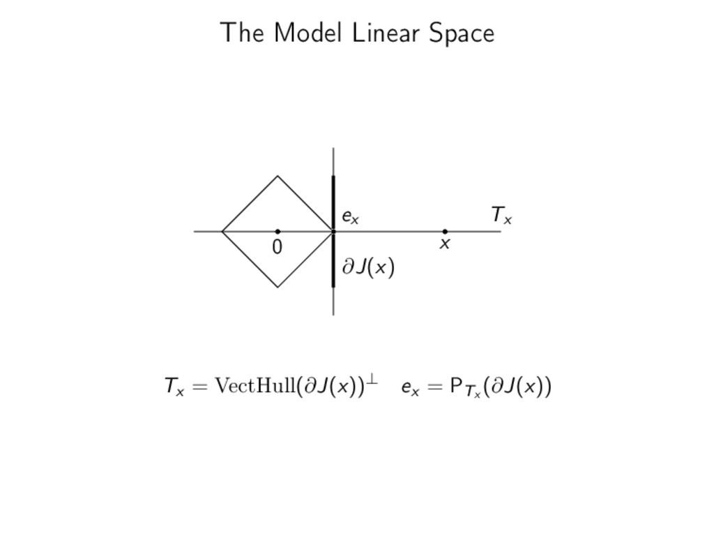 The Model Linear Space 0 x ∂J(x) Tx ex Tx = Vec...