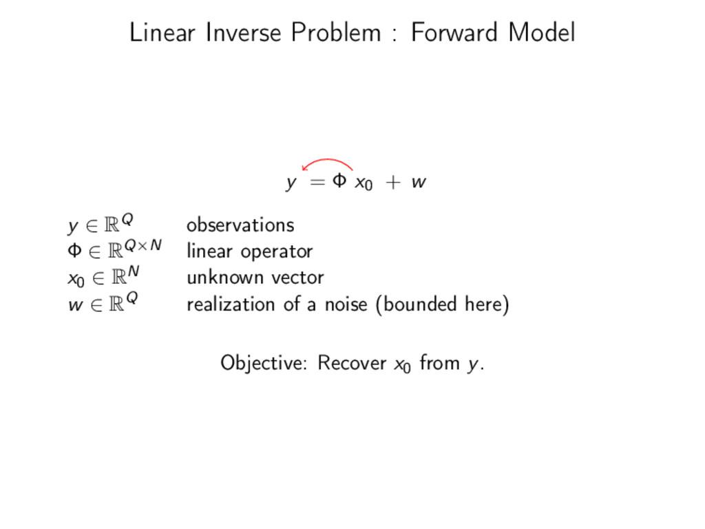 Linear Inverse Problem : Forward Model y = Φ x0...