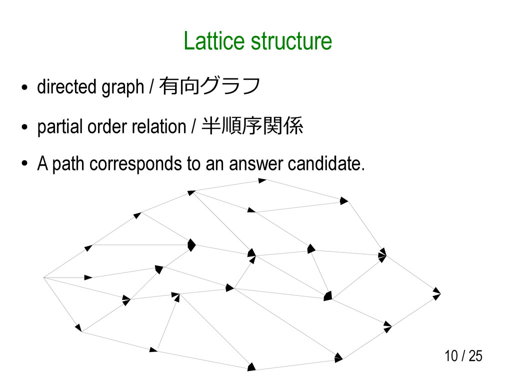 10 / 25 Lattice structure ● directed graph / 有向...