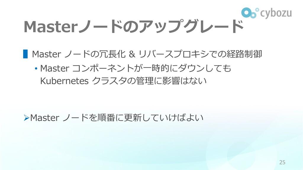 Masterノードのアップグレード ▌Master ノードの冗⻑化 & リバースプロキシでの経...