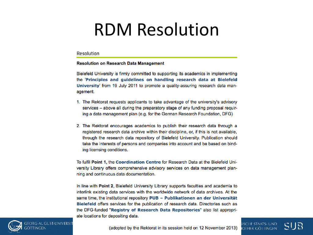[Anlass der Präsentation] RDM Resolution