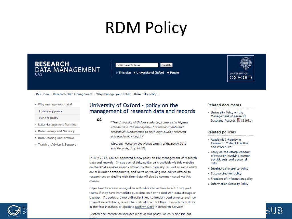 [Anlass der Präsentation] RDM Policy