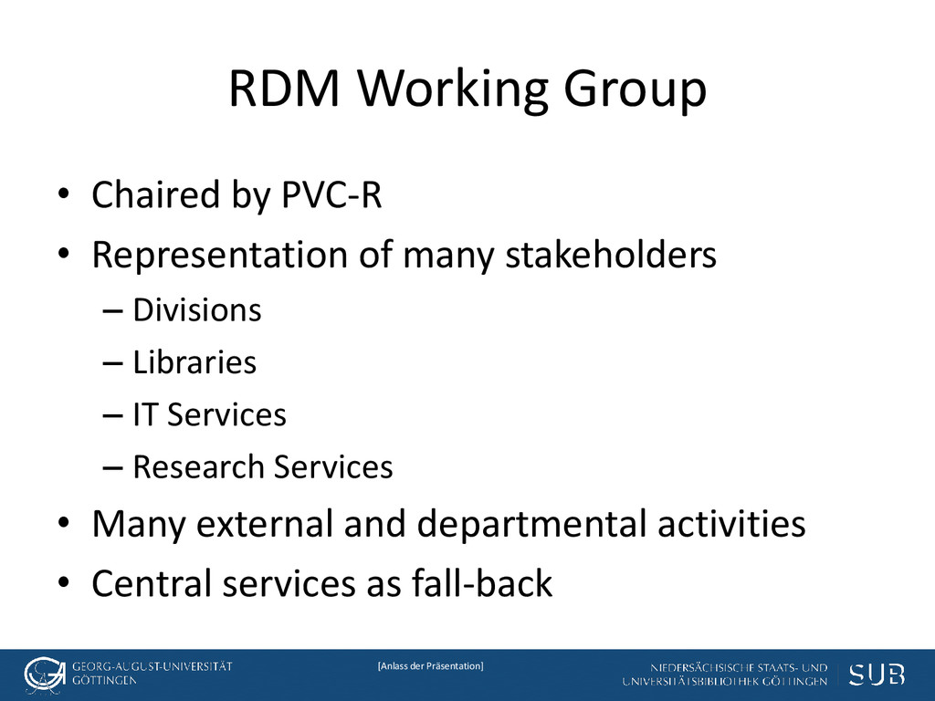 [Anlass der Präsentation] RDM Working Group • C...