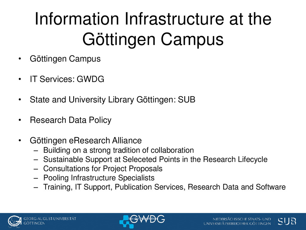 [Anlass der Präsentation] Information Infrastru...