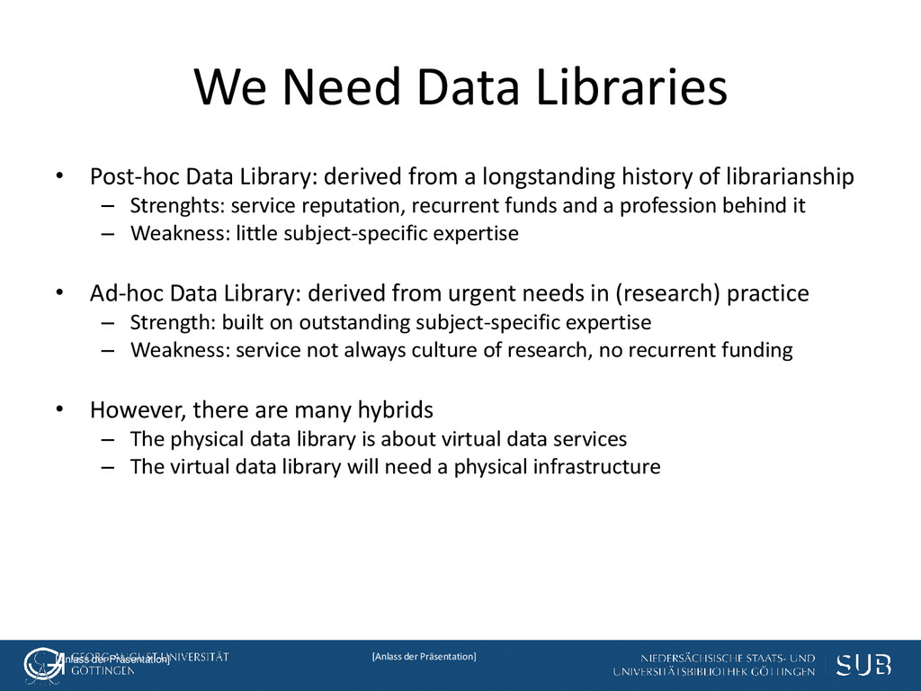 [Anlass der Präsentation] We Need Data Librarie...