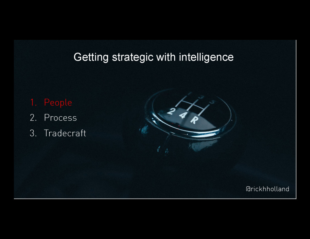 17 Getting strategic with intelligence 1. Peop...