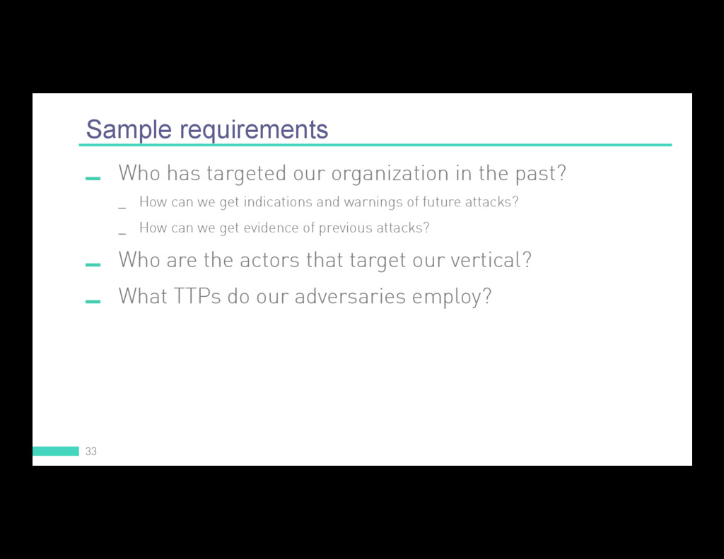 Sample requirements 33  Who has targeted our o...