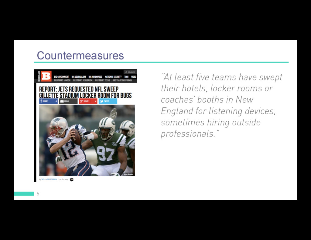 """Countermeasures 5 """"At least five teams have swe..."""