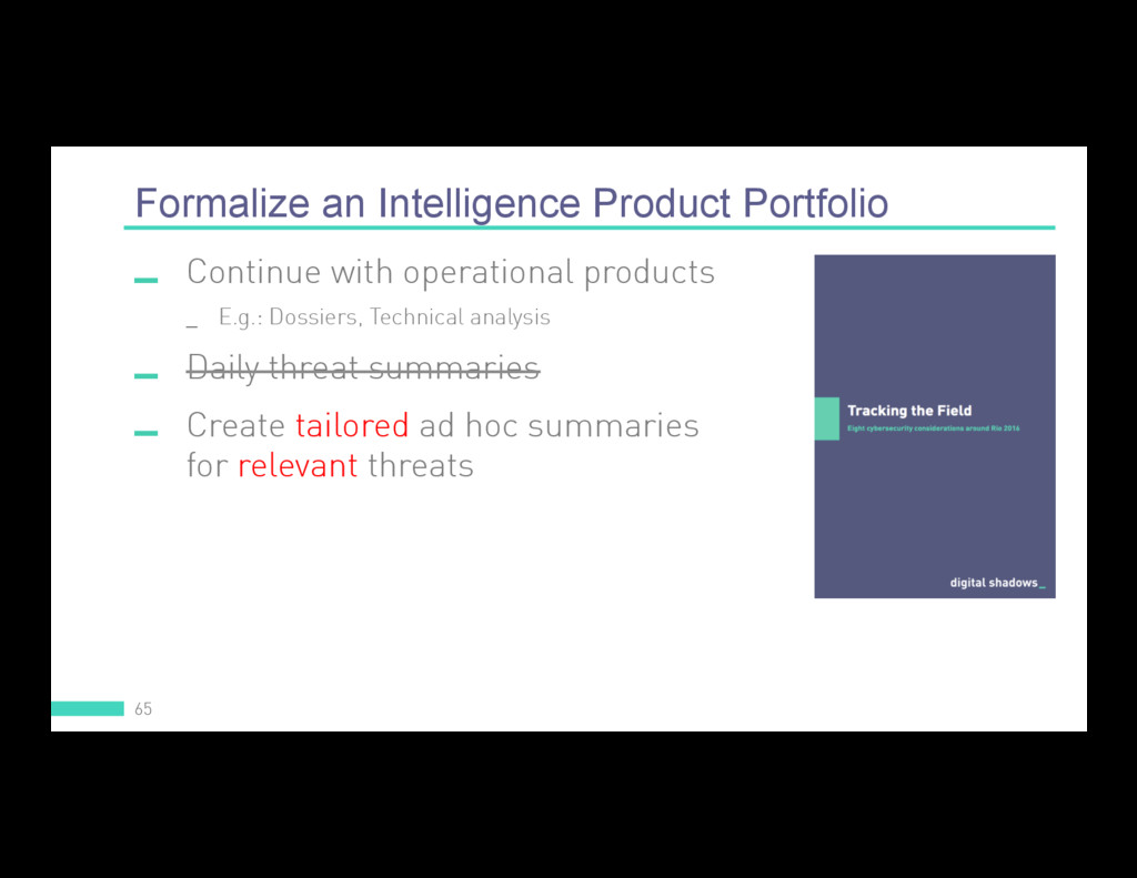 Formalize an Intelligence Product Portfolio 65 ...