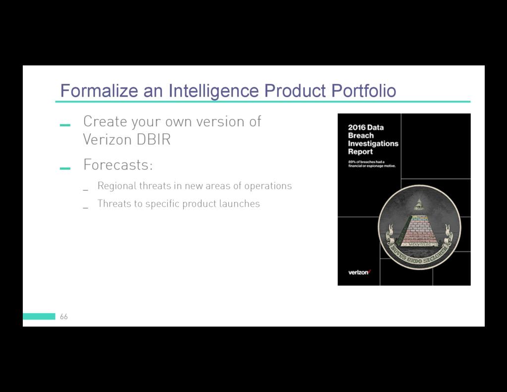 Formalize an Intelligence Product Portfolio 66 ...