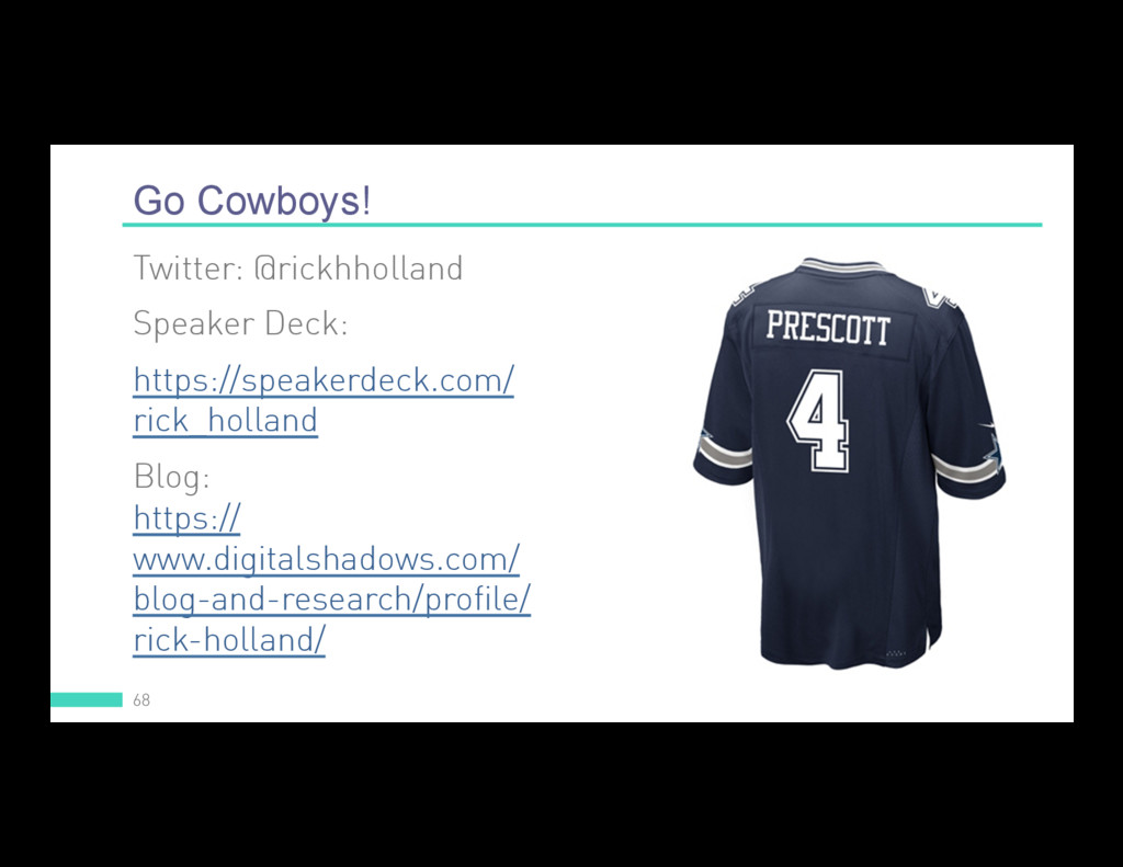 Go Cowboys! 68 Twitter: @rickhholland Speaker D...