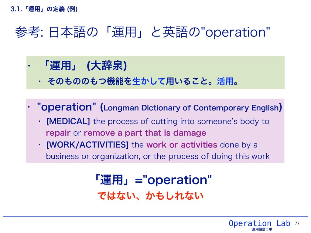 Operation Lab ӡ༻ઃܭϥϘ 77 ߟຊޠͷʮӡ༻ʯͱӳޠͷPQFSBU...