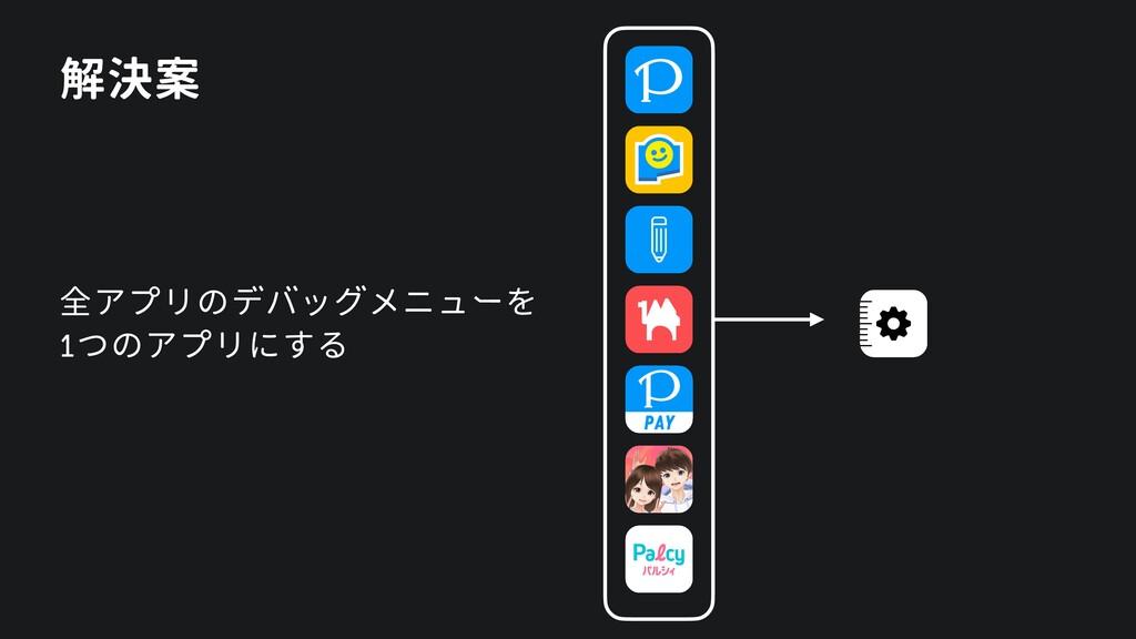 解決案 全アプリのデバッグメニューを 1つのアプリにする