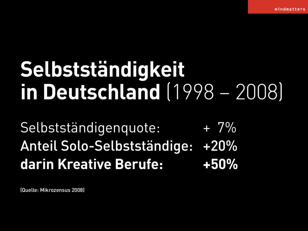 Selbstständigkeit in Deutschland (1998 – 2008) ...