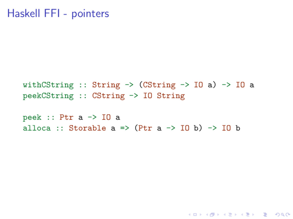 Haskell FFI - pointers withCString :: String ->...