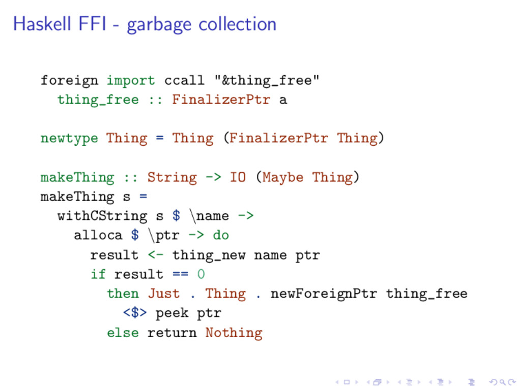 Haskell FFI - garbage collection foreign import...