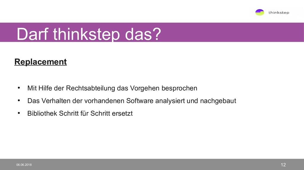 Darf thinkstep das? 06.06.2018 12 Replacement ●...