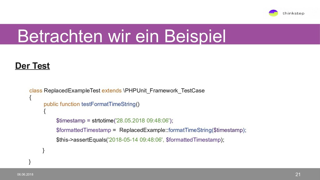 Der Test class ReplacedExampleTest extends \PHP...