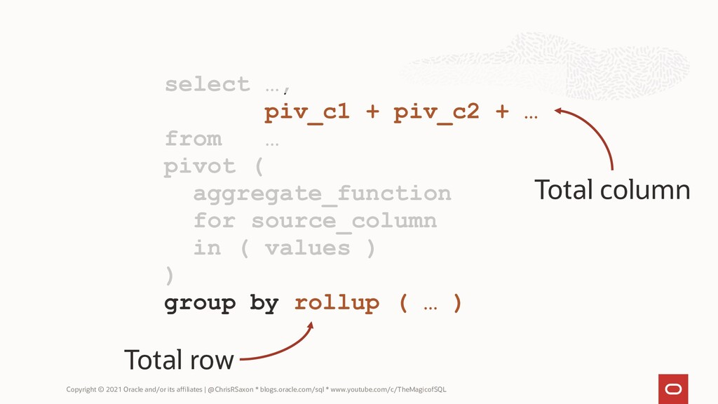 select …, piv_c1 + piv_c2 + … from … pivot ( ag...