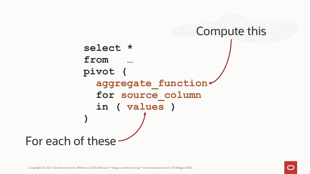 select * from … pivot ( aggregate_function for ...