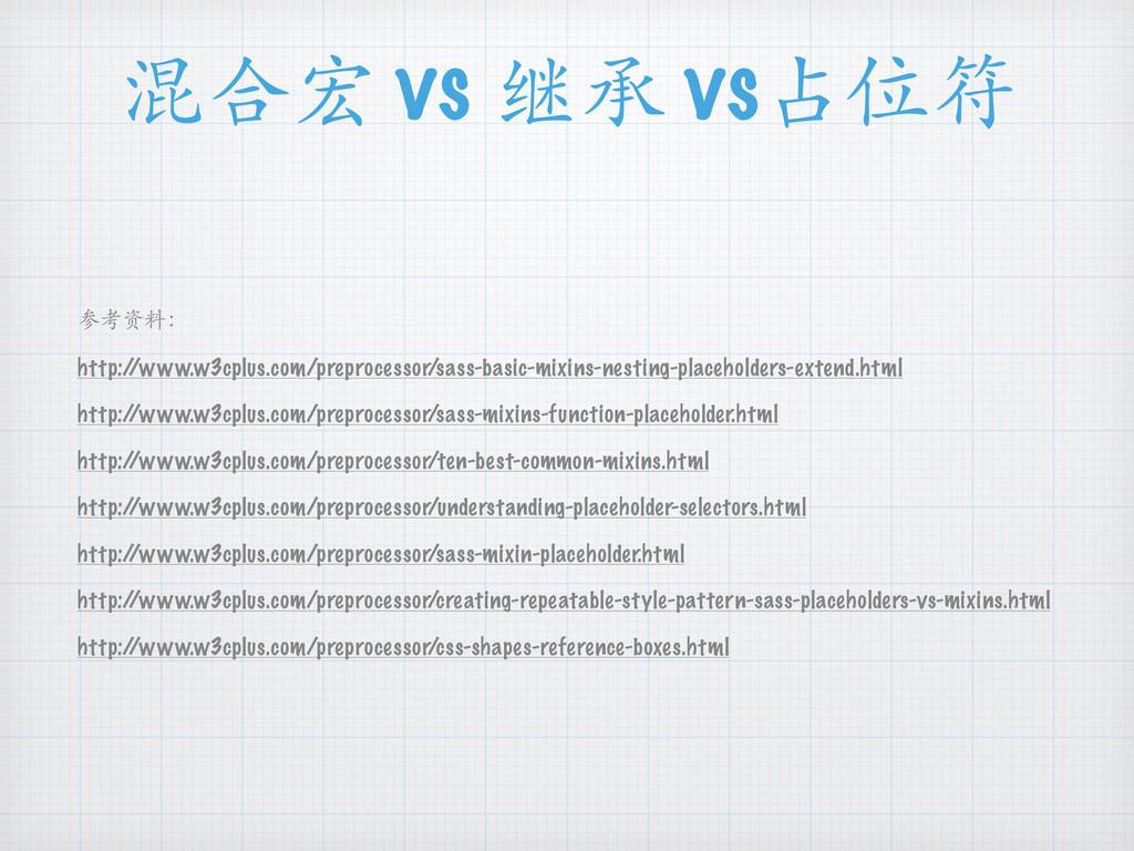 混合宏 vs 继承 vs占位符 参考资料: http:/ /www.w3cplus.com/p...