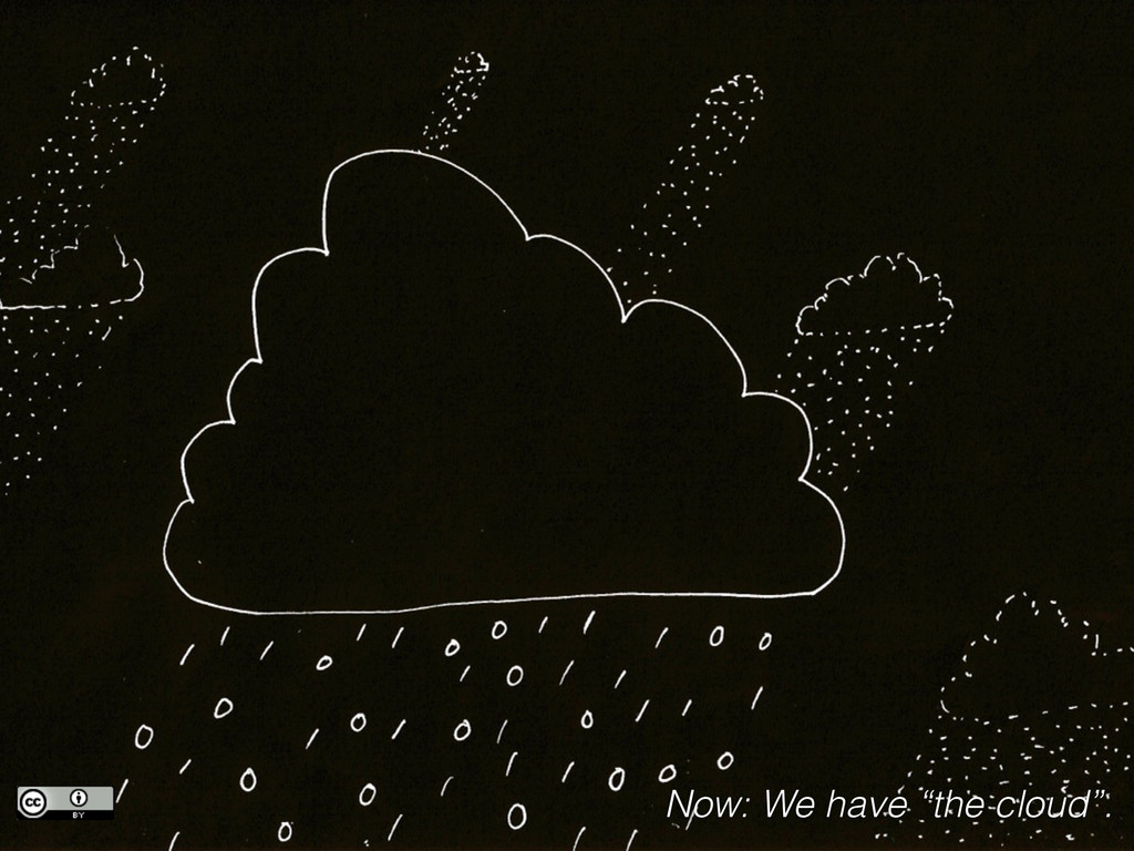 """Now: We have """"the cloud""""."""