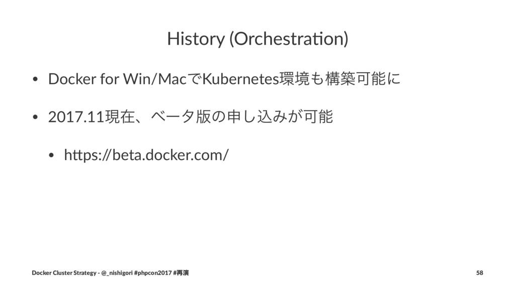 History (Orchestra/on) • Docker for Win/MacͰKub...