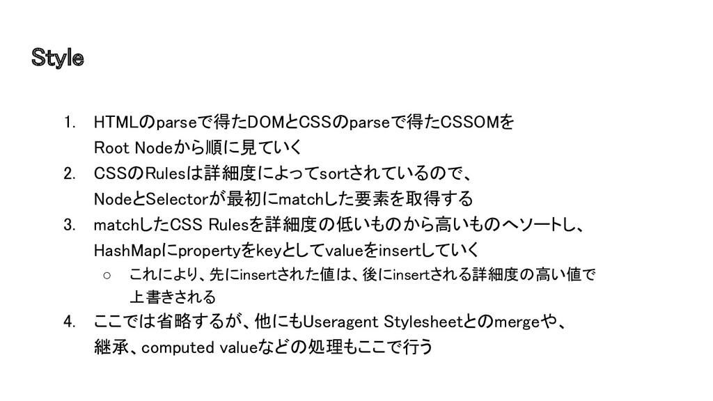 Style 1. HTMLのparseで得たDOMとCSSのparseで得たCSSOMを ...
