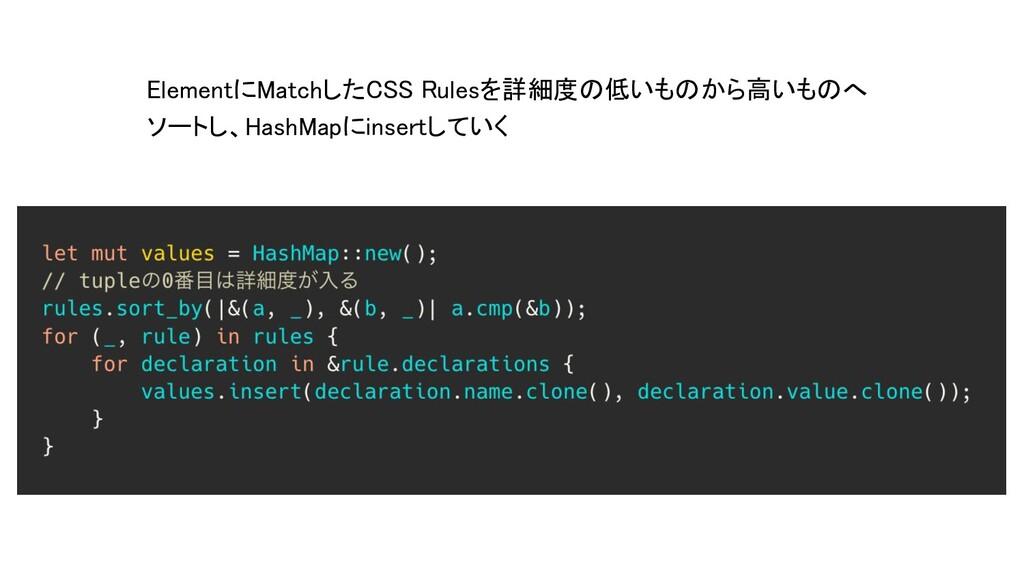 ElementにMatchしたCSS Rulesを詳細度の低いものから高いものへ ソートし、H...