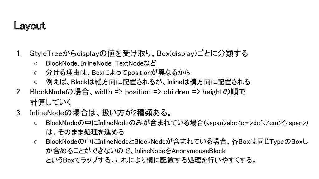 Layout 1. StyleTreeからdisplayの値を受け取り、Box(displa...