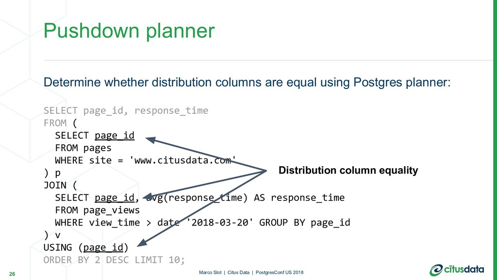 Pushdown planner Determine whether distribution...