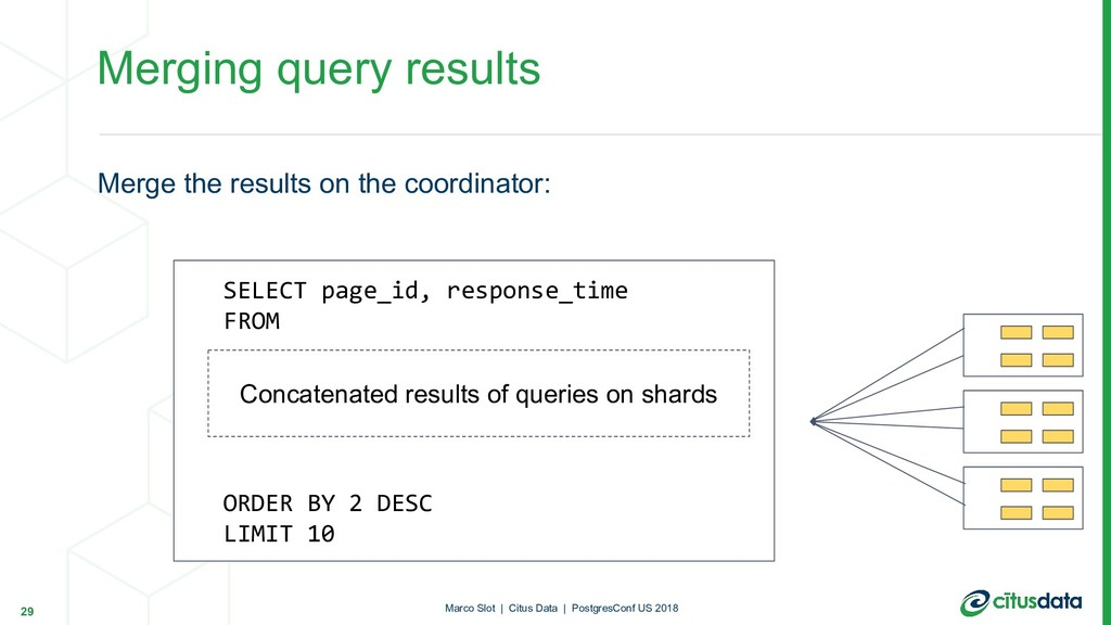 Merge the results on the coordinator: Merging q...