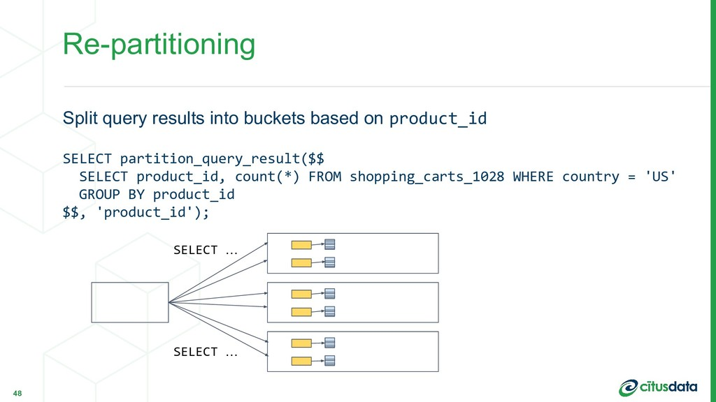 Re-partitioning Split query results into bucket...