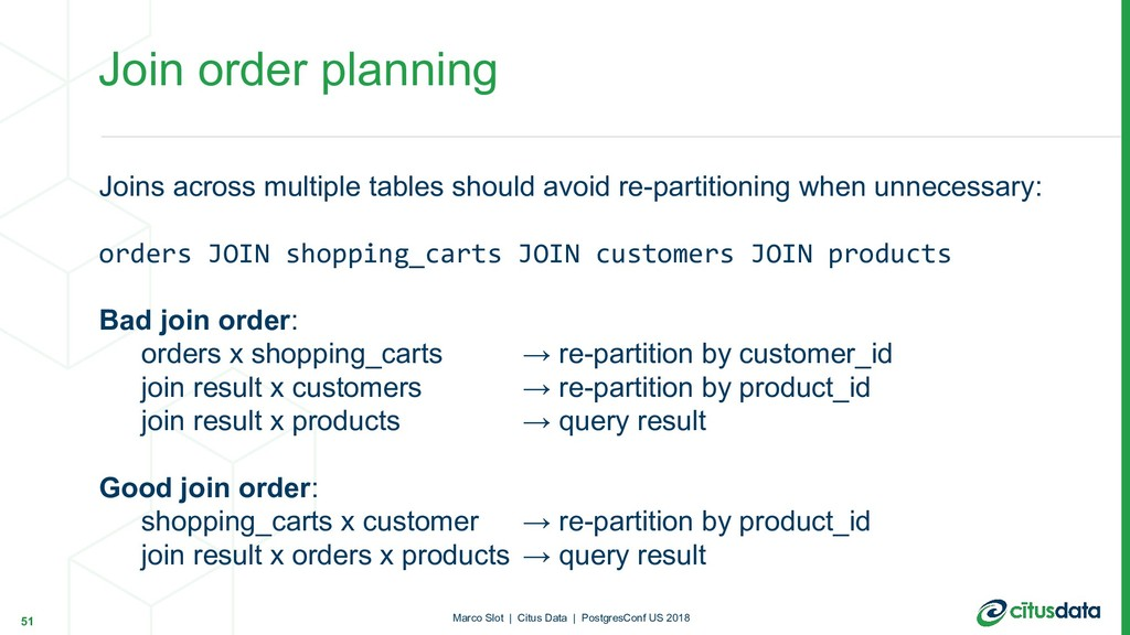 Join order planning Joins across multiple table...