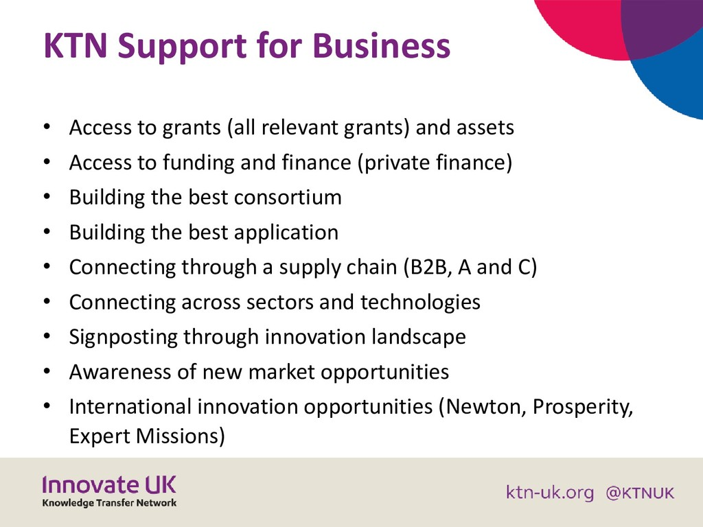 KTN Support for Business • Access to grants (al...