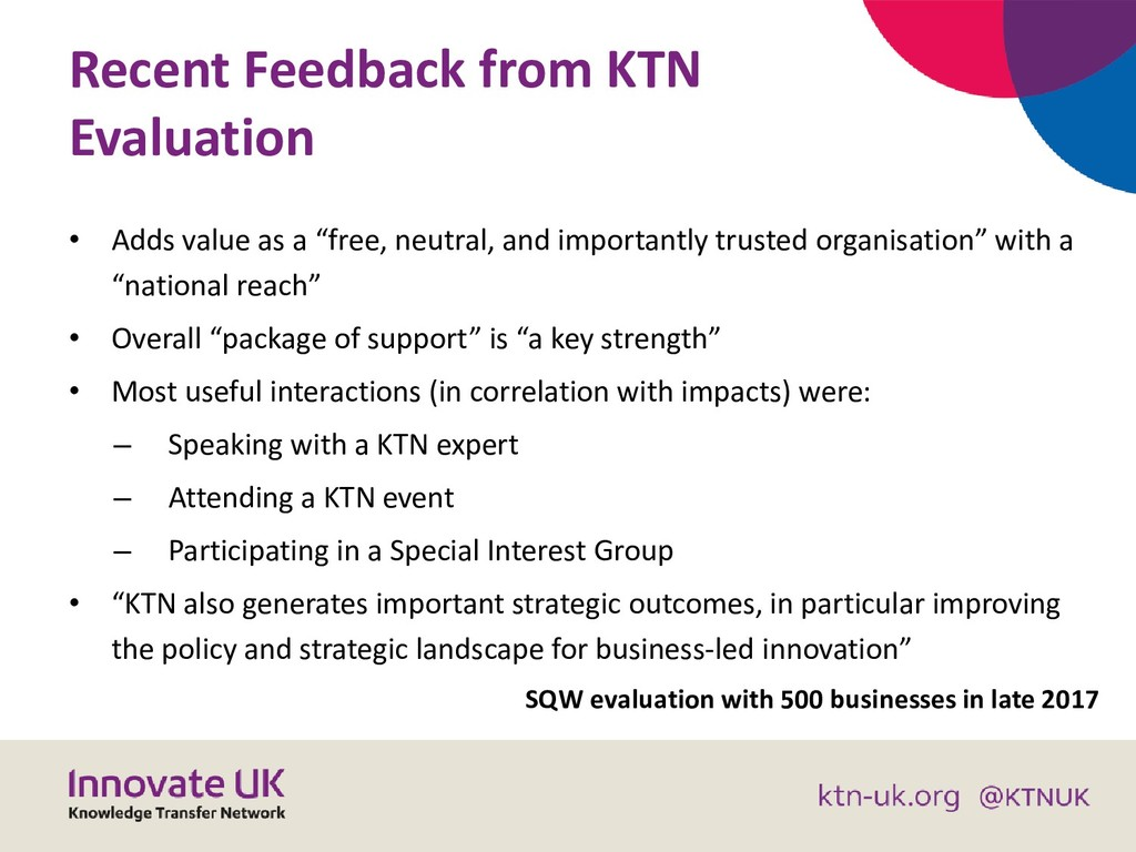 Recent Feedback from KTN Evaluation • Adds valu...