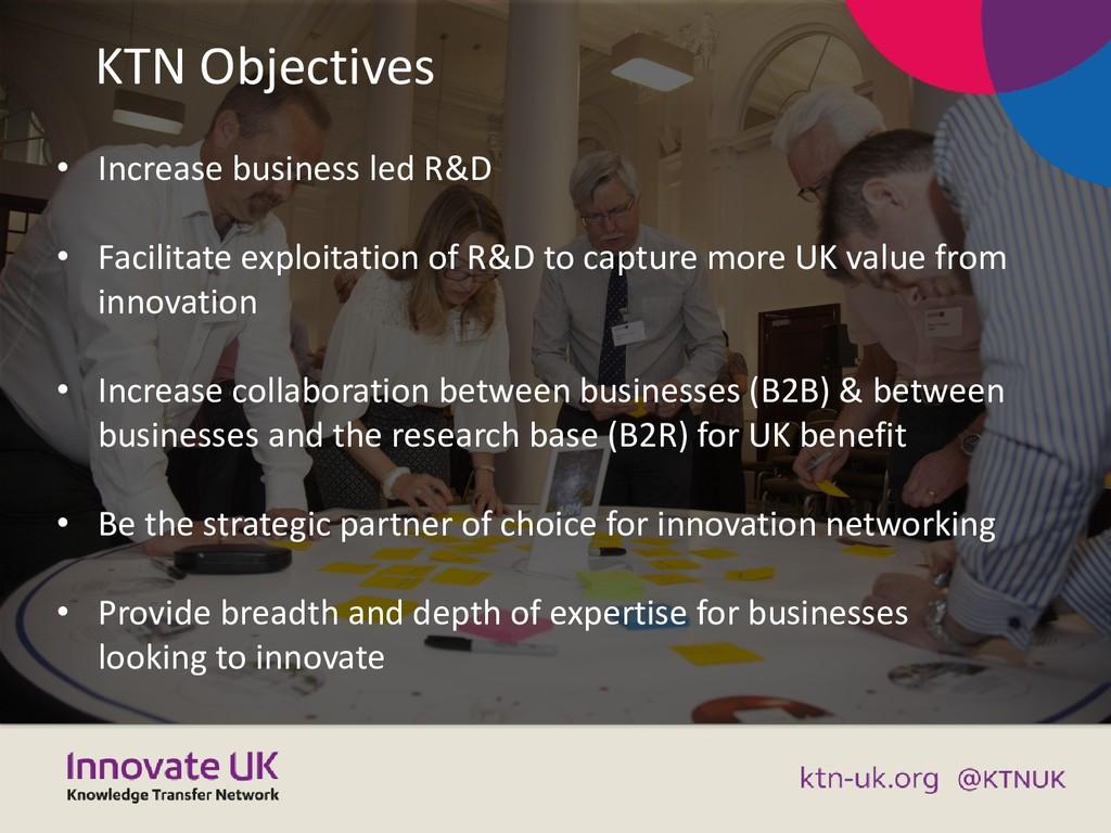 KTN Objectives • Increase business led R&D • Fa...