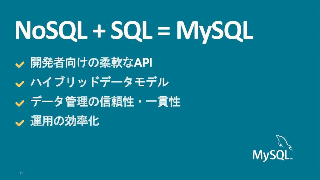 11 NoSQL + SQL = MySQL 開発者向けの柔軟なAPI ハイブリッドデータモデ...