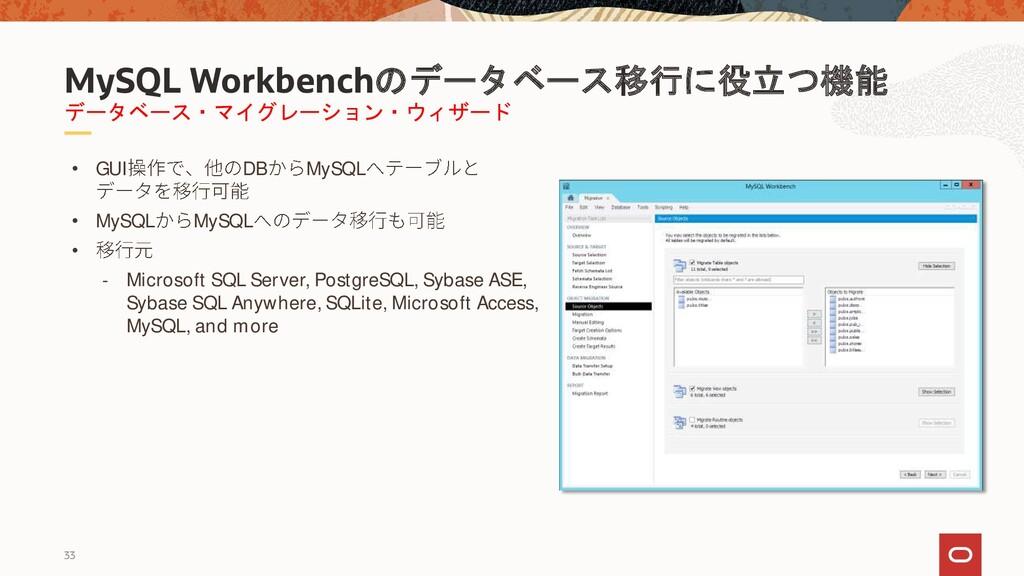 33 データベース・マイグレーション・ウィザード MySQL Workbenchのデータベース...