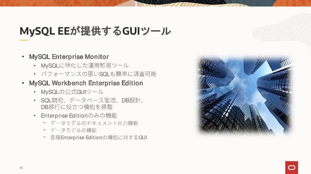 45 MySQL EEが提供するGUIツール • MySQL Enterprise Monit...