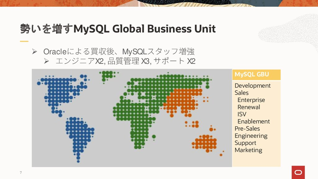 7 勢いを増すMySQL Global Business Unit MySQL GBU Dev...