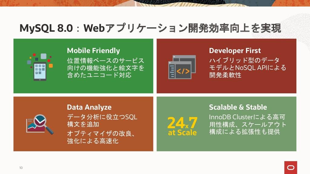 10 MySQL 8.0:Webアプリケーション開発効率向上を実現 24x 7 at Scal...