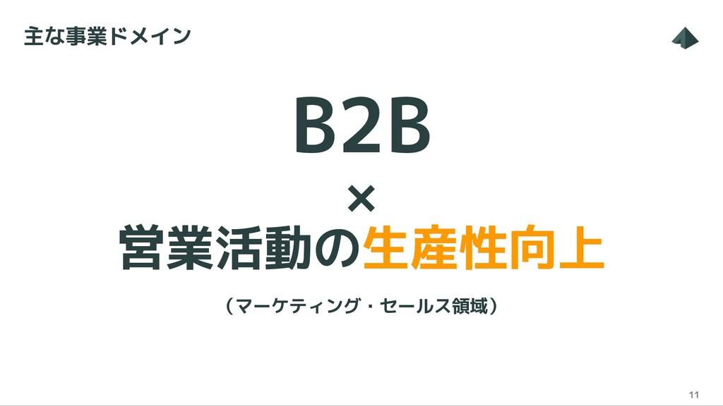B2B × 営業活動の生産性向上 (マーケティング・セールス領域) 11 主な事業ドメイン
