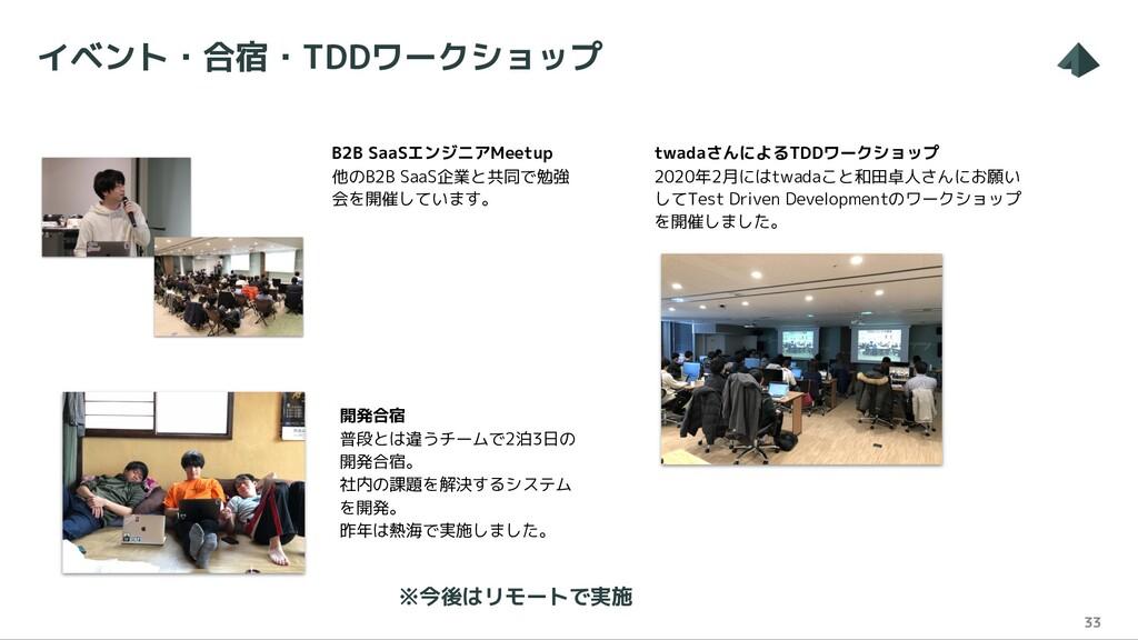 イベント・合宿・TDDワークショップ 33 B2B SaaSエンジニアMeetup 他のB2B...