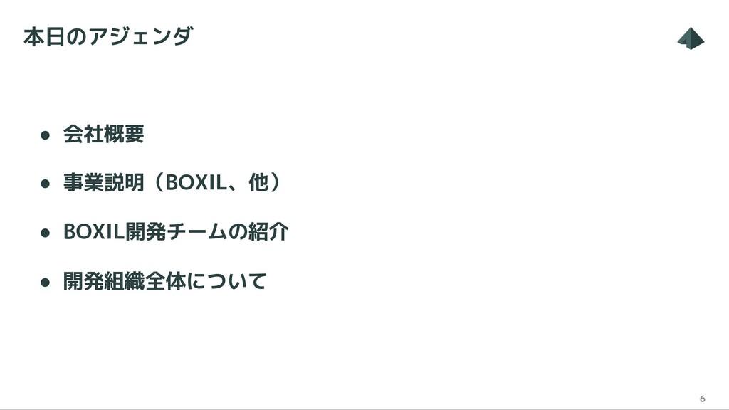 本日のアジェンダ 6 ● 会社概要 ● 事業説明(BOXIL、他) ● BOXIL開発チームの...