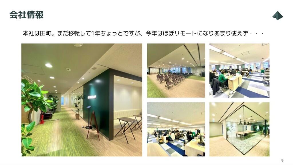 会社情報 9 本社は田町。まだ移転して1年ちょっとですが、今年はほぼリモートになりあまり使えず...