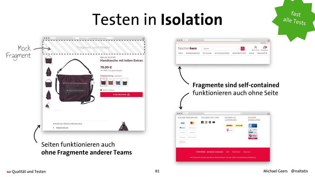 Testen in Isolation Fragmente sind self-contain...