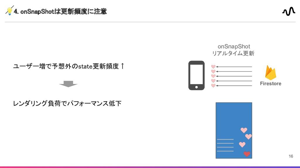 4. onSnapShotは更新頻度に注意  ユーザー増で予想外のstate更新頻度↑  ...