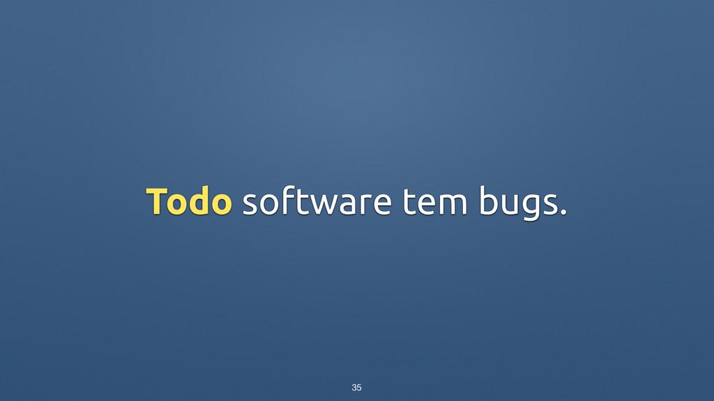 Todo software tem bugs. 35